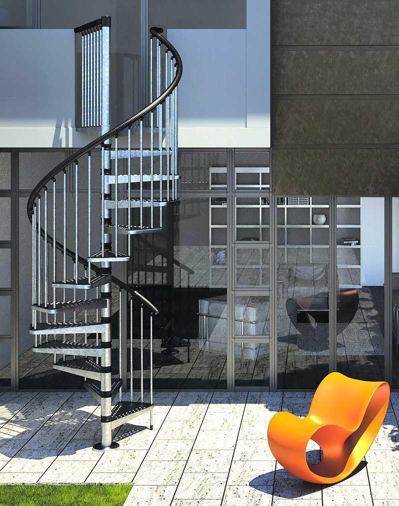 Best Gamia Zinc Exterior Spiral Staircase 1400Mm Spiral 400 x 300