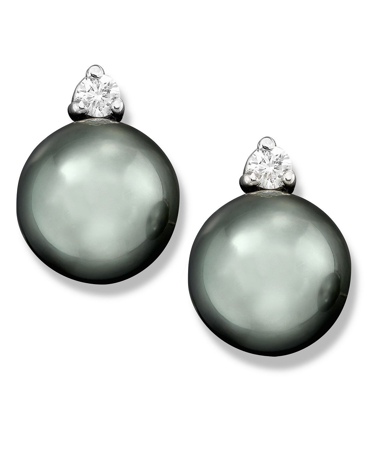 Cultured Tahitian Black Pearl (8mm) and Diamond (1/10 ct. t.w.) Stud Earrings in 14k White Gold - Earrings - Jewelry & Watches - Macy's