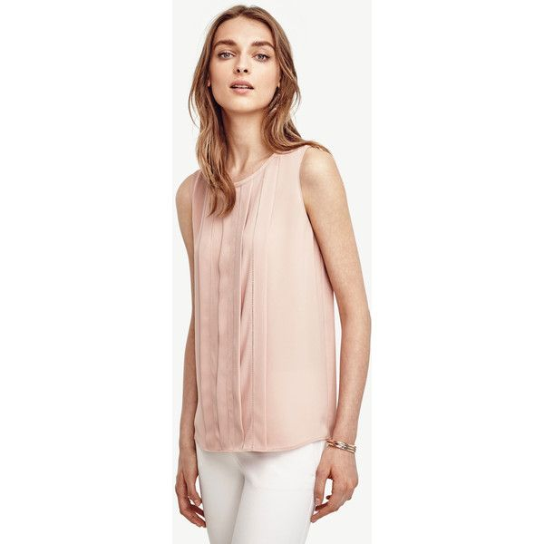 Ann Taylor Pleated Cutout Shell ($70) ❤ liked on Polyvore featuring tops, rosebud blush, ann taylor, pink tops, pink tank, sleeveless tank and pleated top