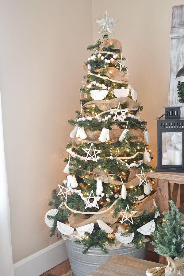 Rustic White Christmas Tree Vintage Christmas Tree Decorations Christmas Tree Decorations Rustic Christmas Tree