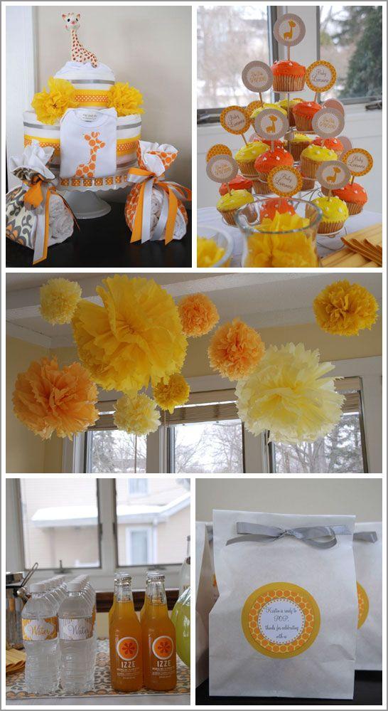 Yellow And Orange Christening Giraffe Theme Pinterest Baby
