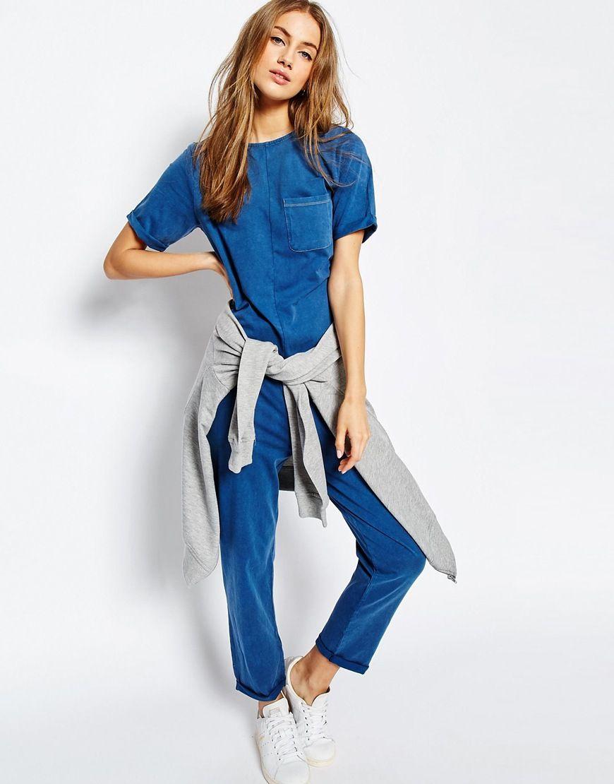 ASOS Minimal Jersey Jumpsuit in Denim Look