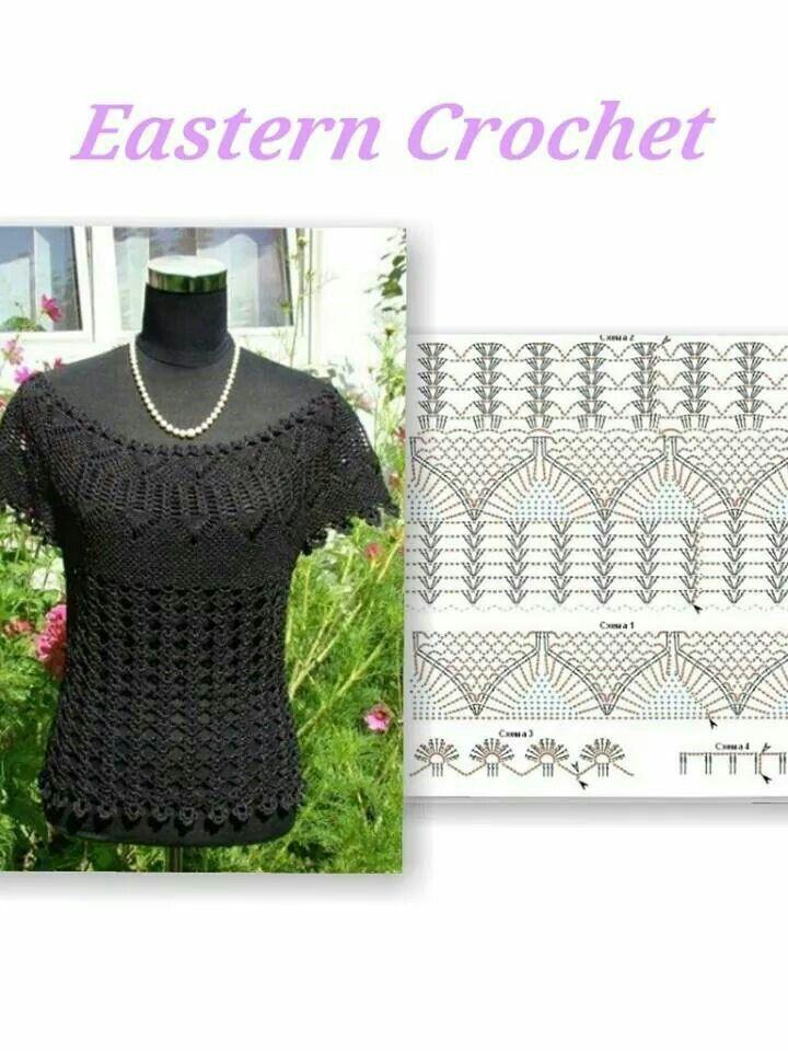 Crochet pattern stitch | blusas lll | Pinterest | Blusas, Túnicas y ...