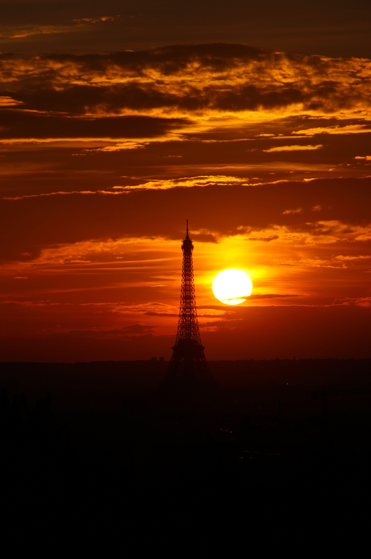 Coucher de soleil sur paris et la tour eiffel sunset in paris eiffel tower nature - Coucher de soleil sur paris ...
