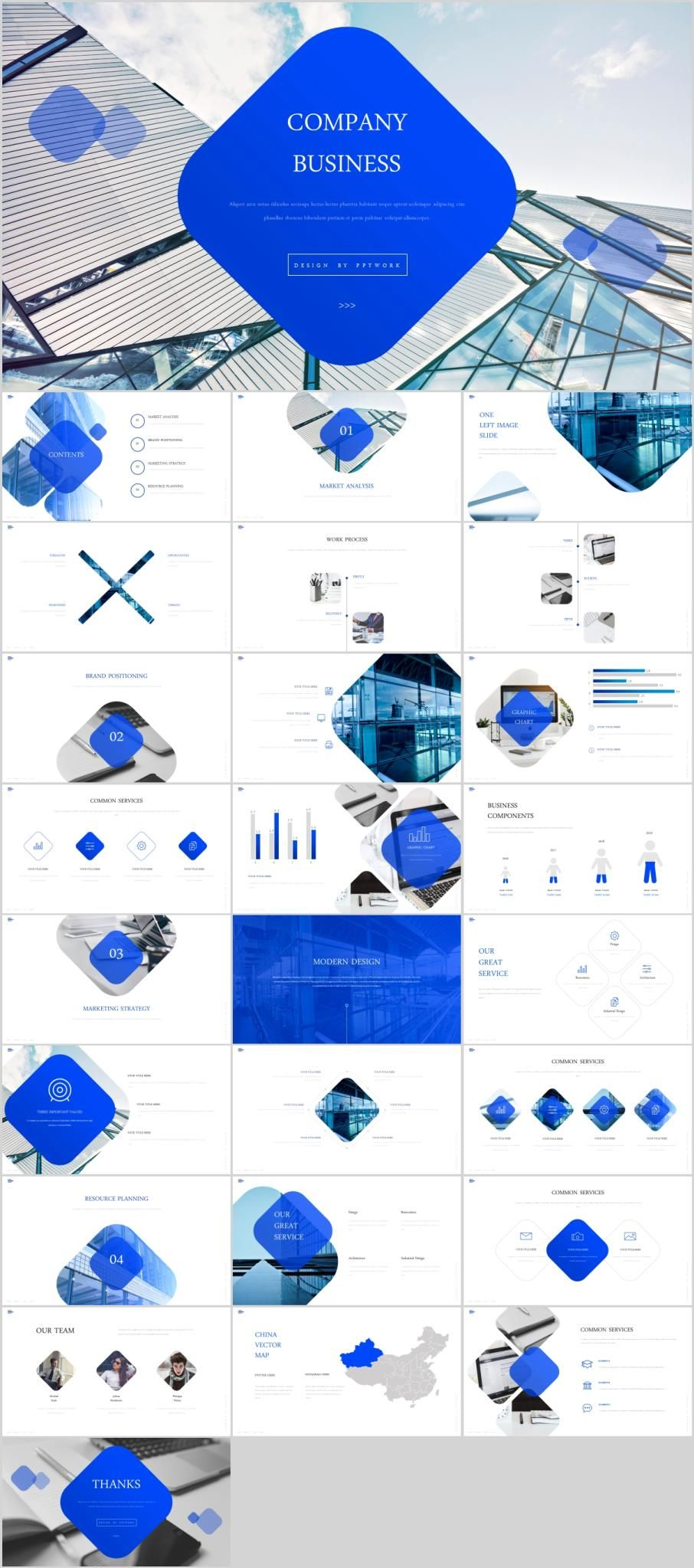 Blue Company Business Powerpoint Template