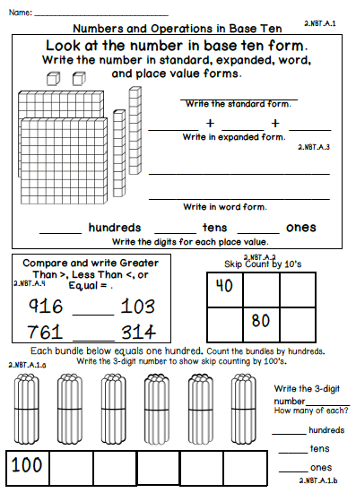 2nd Grade Common Core Standards Math Assessments Second 100