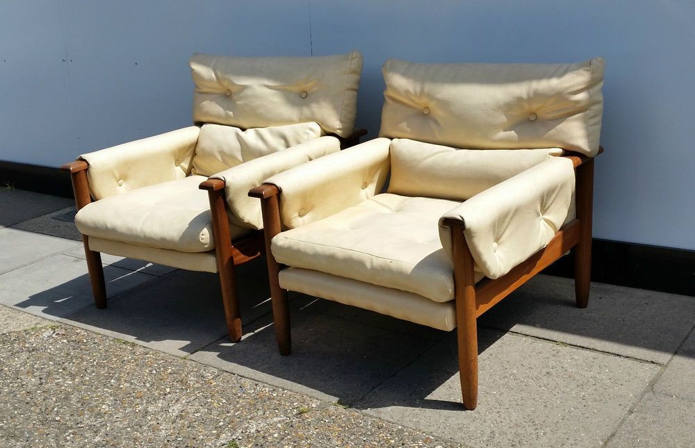 Pair Of Mid Century Eames Howard Keith Danish Armchairs In Antiques Periods