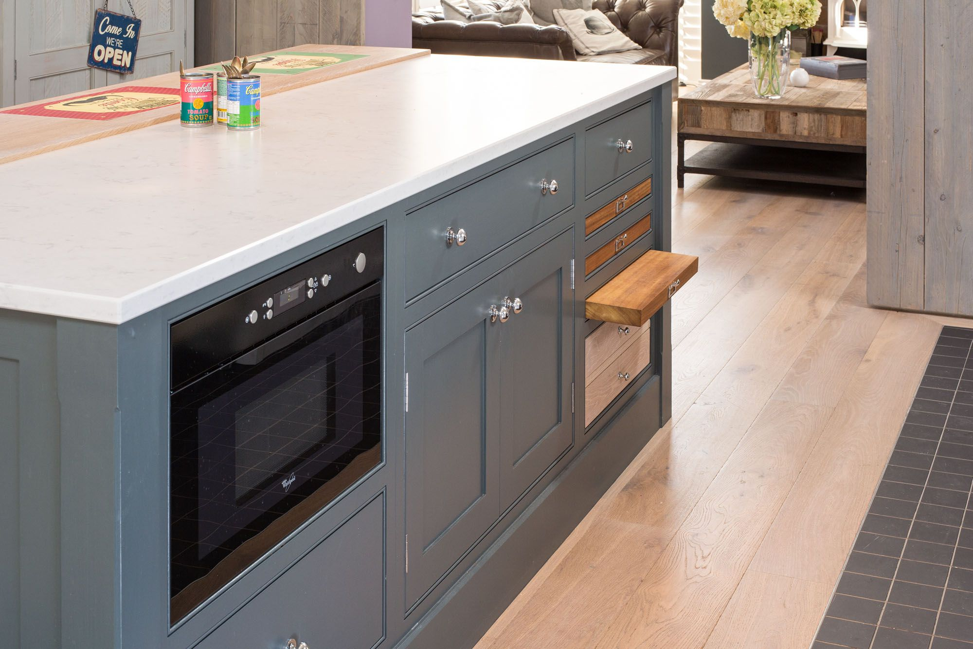 The island unit was painted in Farrow & Ball \'Down Pipe\' while the ...