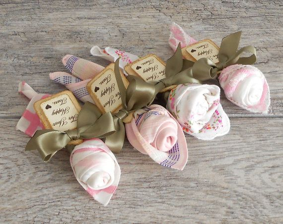 Pink Handkerchief Roses Wedding Ceremony Favor Rose Vintage Hankie For Your Hy Tears
