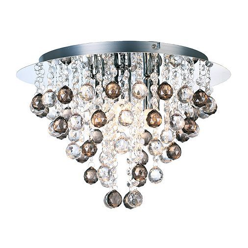 Modern chrome chandelier with clear and smoked acrylic spheres chrome chandeliers and semi flush ceiling lights