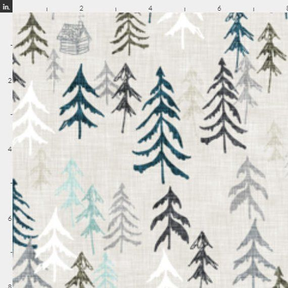 d33137e54c6 Pine Tree Forest Fabric by the Yard Pine Trees Winter Snow Quilting Fabric  Organic Cotton Knit Minky