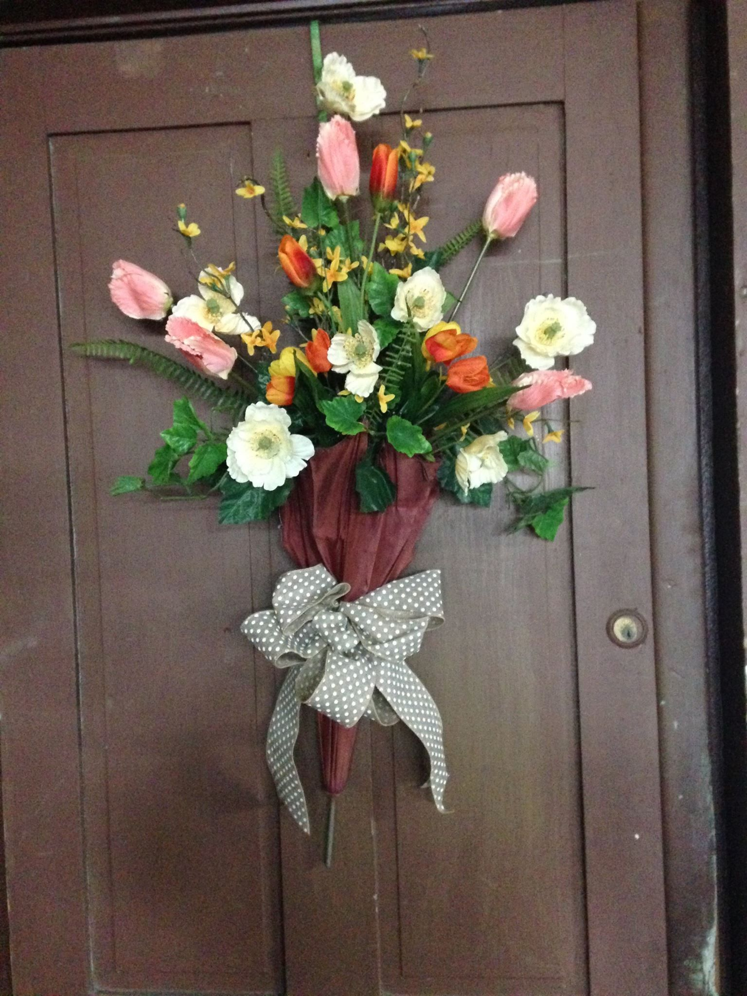 Front door decor decorated umbrella spring umbrella Spring flower arrangements for front door