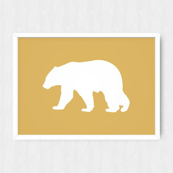 Bear Silhouette Print, Bear Print, Bear Wall Decor, Animal Art ...