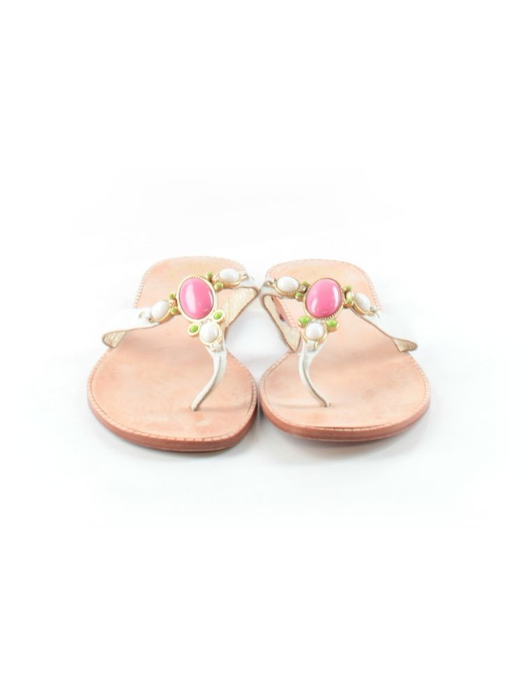 Lilly Pulitzer Size 10 White with Jeweled Stones Flip Flop Sandals-EUC #LillyPulitzer #FlipFlops