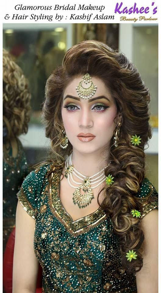 Mehndi Day Hairstyles : Glamorous bridal makeup and hair styling done by kashif