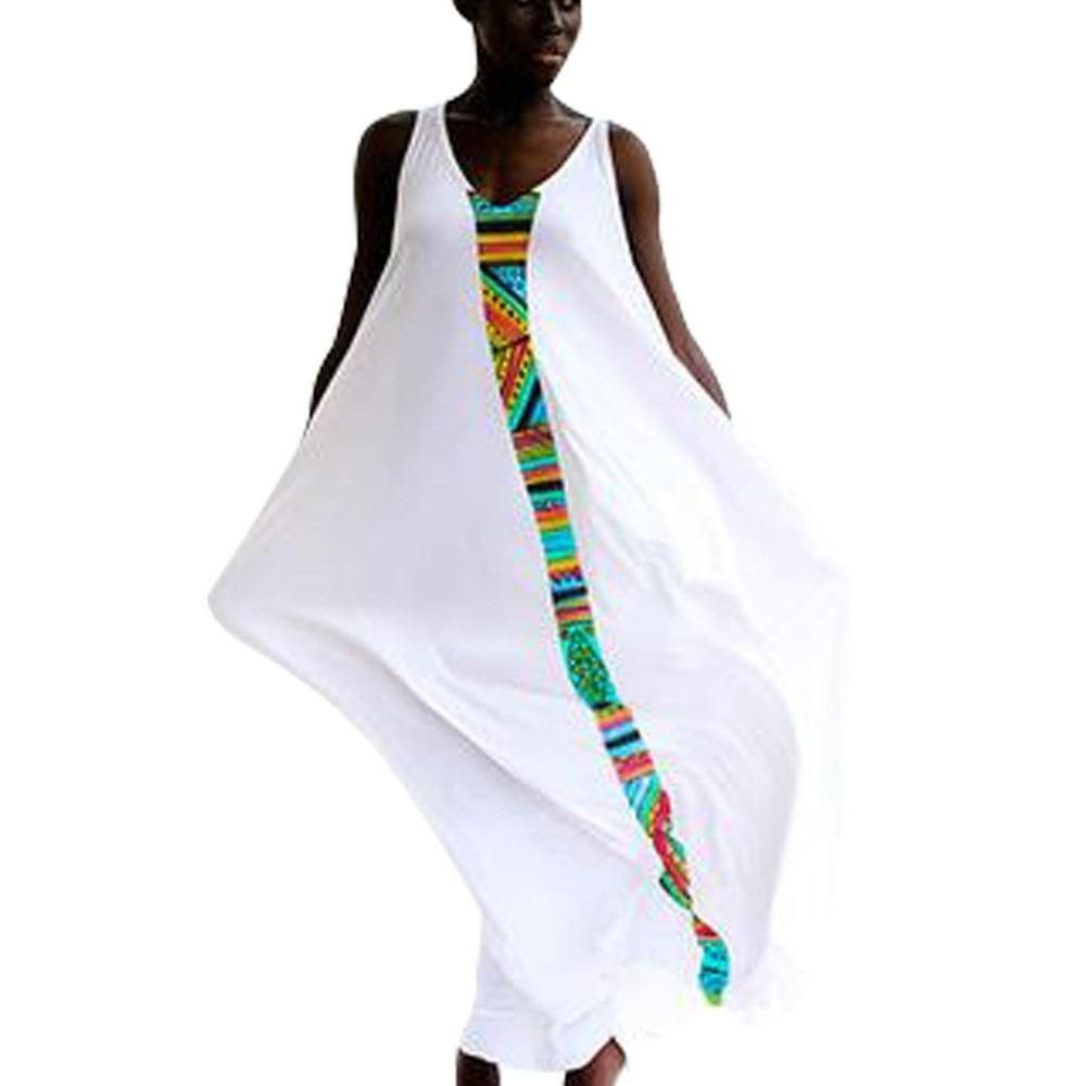 New long white dress with african ankara print finish my stitch