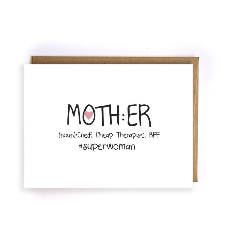 Cute Mom Birthday Card Mothers Day From Son Funny Kids Blank Greeting Cards GC217 By ArtRuss On Etsy