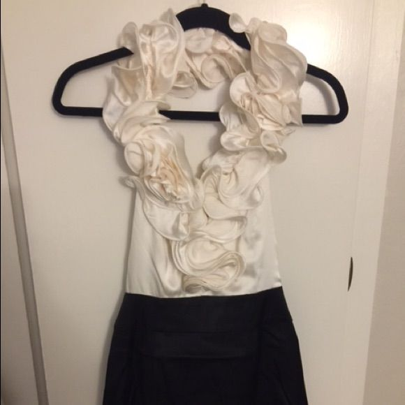 Bebe Black And Cream Ruffle Halter Cocktail Dress