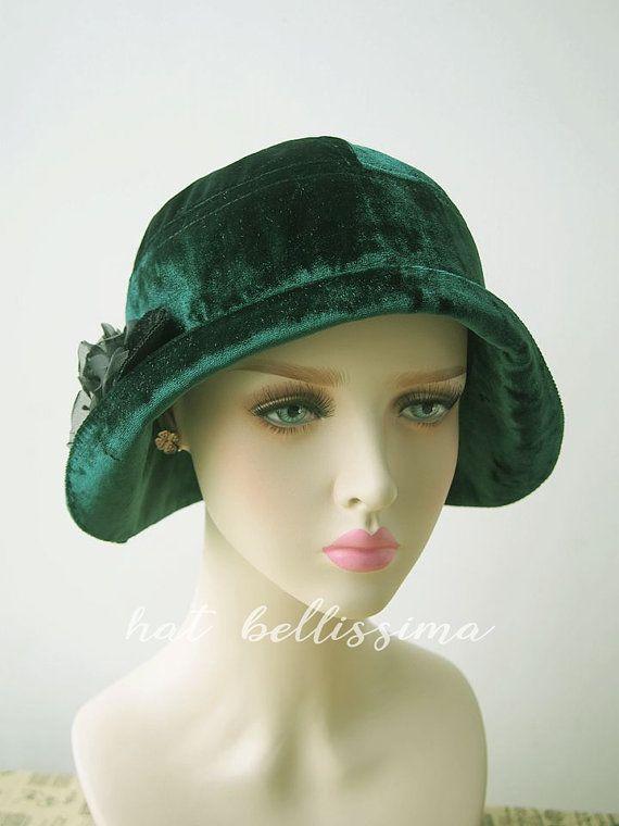 4d26d4737a1 SALE green 1920 s Cloche Hat Vintage Style hat by hatbellissima. SALE green 1920 s  Cloche Hat Vintage Style hat by hatbellissima Ladies Hats ...