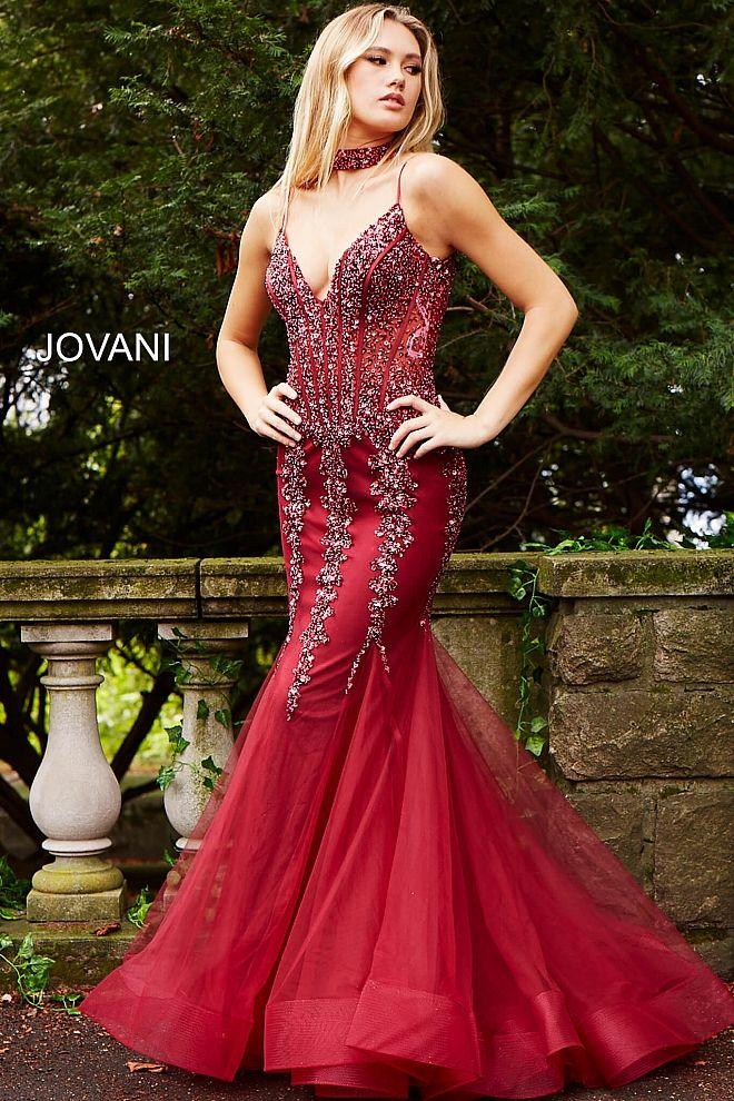 c8f40387bb Teal Embellished Mermaid Dress with Choker 56032
