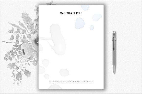 Color Drops Letterhead Template by DocumentFolder on @creativemarket - letterhead sample in word