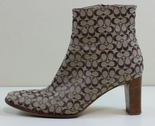 Ladies COACH BRIANNA Logo Canvas Ankle BOOT SHOE Brown SIZE 8 B