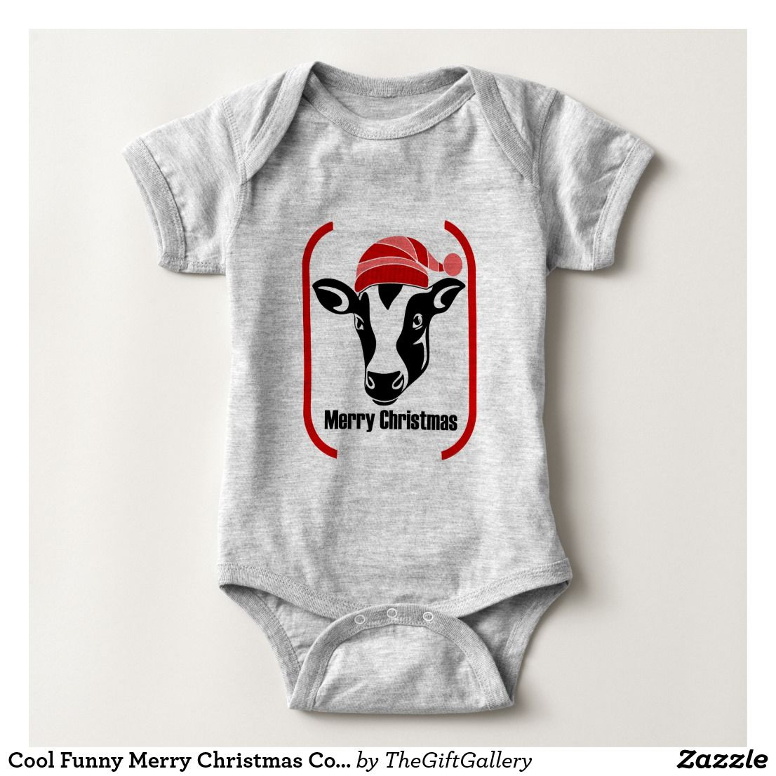 bf5b54998 Cute Hipster Funny Merry Christmas Cow Cool Modern Baby Bodysuit ...