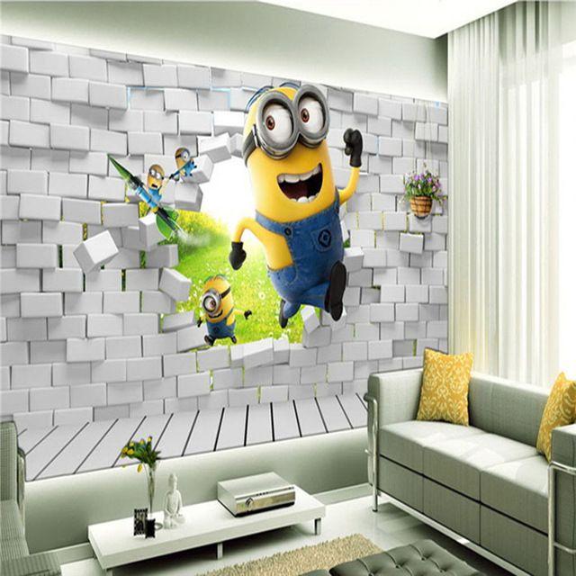 Custom Minions Wallpaper Boys Kids Girls Bedroom Funny 3D Cartoon Photo Waterproof Murals Sitting Room Home Decoration