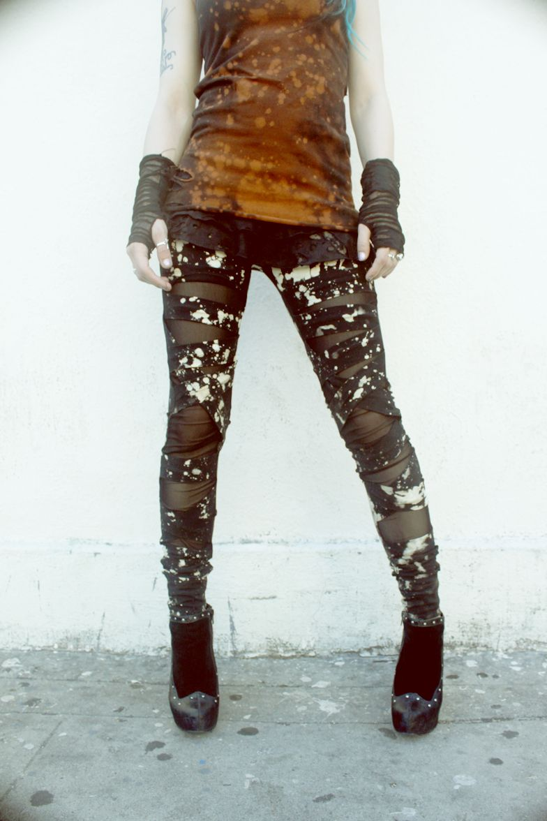 Distressed and layered leggings