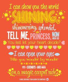 A Whole New World Disney Lyrics Disney Songs Disney Fun