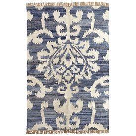 Damask denim rug for living room