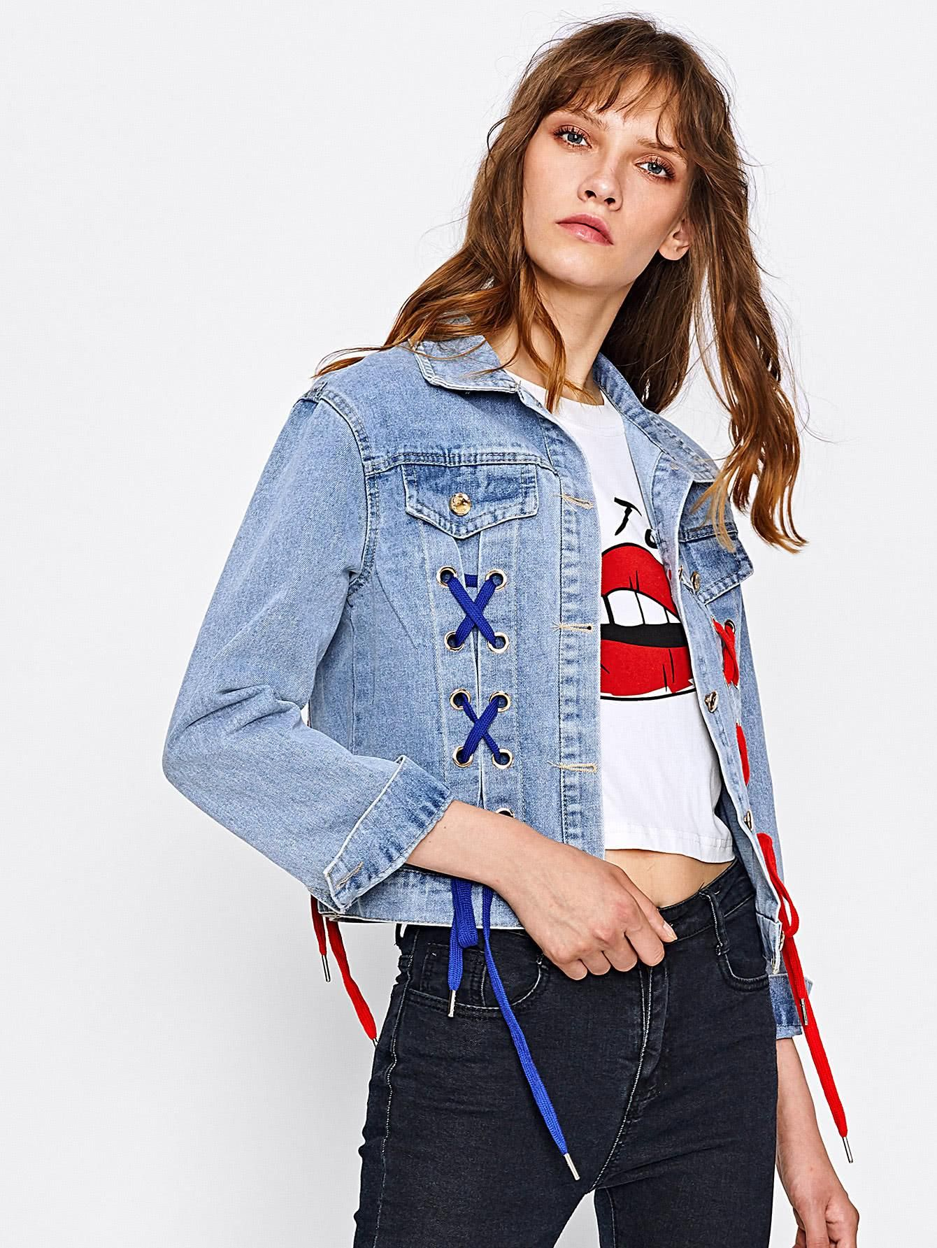 d34a8aa908 SheIn - SheIn Embroidered Patch Back Grommet Lace Up Denim Jacket -  AdoreWe.com