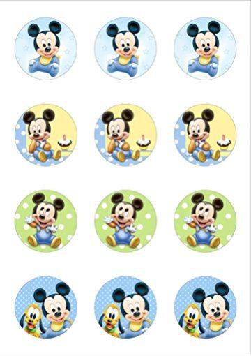 12 Cute Mickey Mouse Baby 50mm Circle Edible Wafer Paper Cake