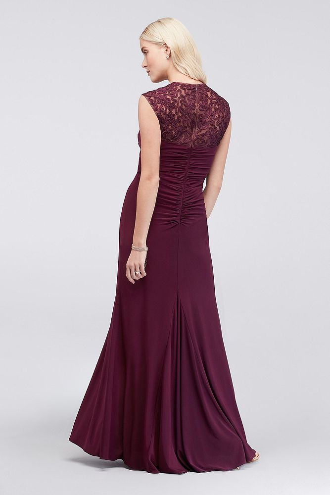 4d4221db8cbee3 Jersey Sheath Dress with Crossed Illusion Waist - Crisscross panels of  illusion mesh and rows of