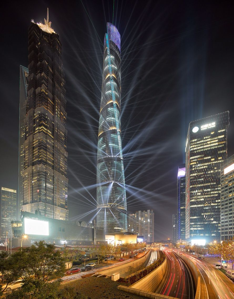 Shanghai Tower - Second tallest building in the world, now completed. 121 Floors, 632 meters.
