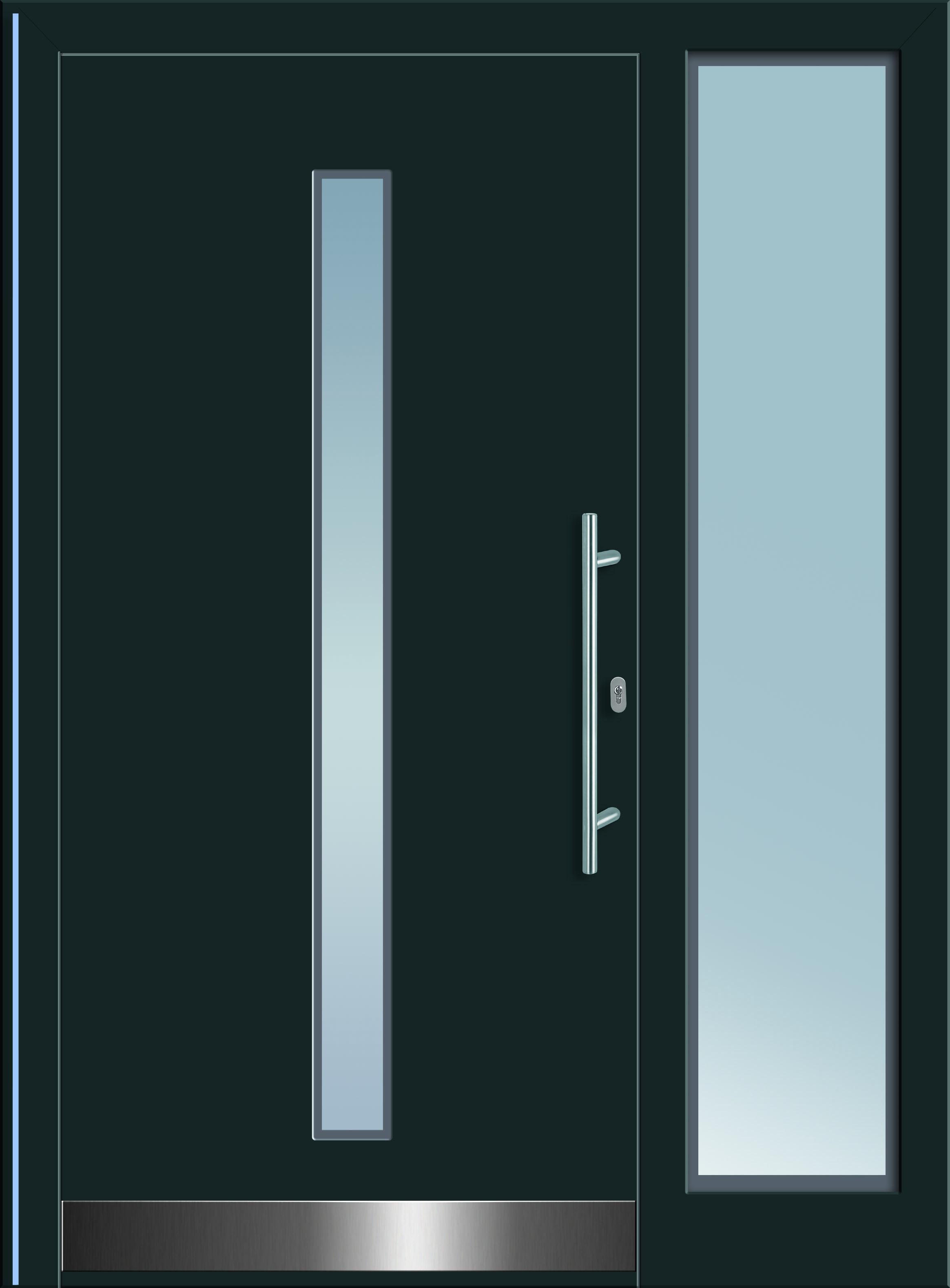 wasat 1 aluminium eingangst re in dunkelgrau mit glasausschnitt in satinato glas mit edelstahl. Black Bedroom Furniture Sets. Home Design Ideas