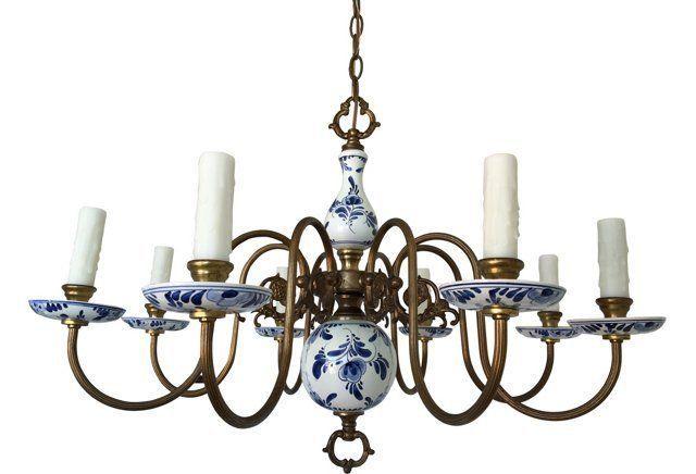 Blue white delft chandelier home pinterest delft and chandeliers blue white delft chandelier mozeypictures Gallery
