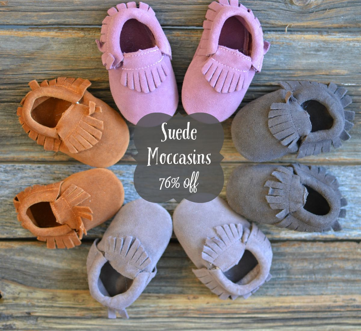 Suede Moccasins: 76% off retail through 10-27-15!