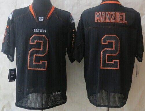 9d5747668e5 Nike Cleveland Browns #2 Johnny Manziel Lights Out Black Elite Jersey