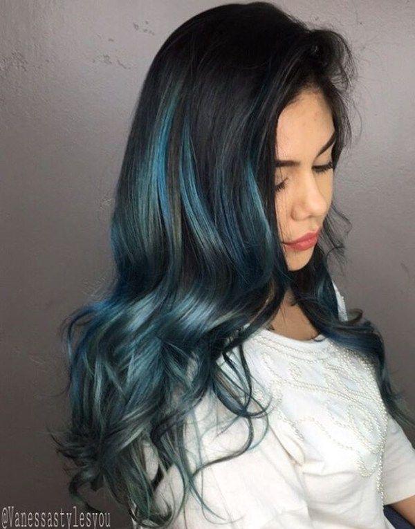 Long Black Hair With Blue Highlights Blue Hair Highlights Hair Highlights Light Blue Hair