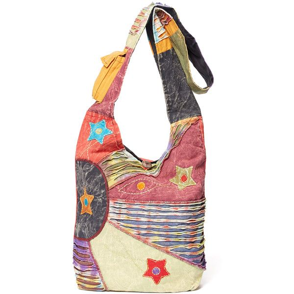 Royal Handicrafts Mauve & Ivory Patchwork Boho Bag ($13) ❤ liked on Polyvore featuring bags, handbags, slouchy purse, pocket purse, zip purse, strap purse and zipper handbag