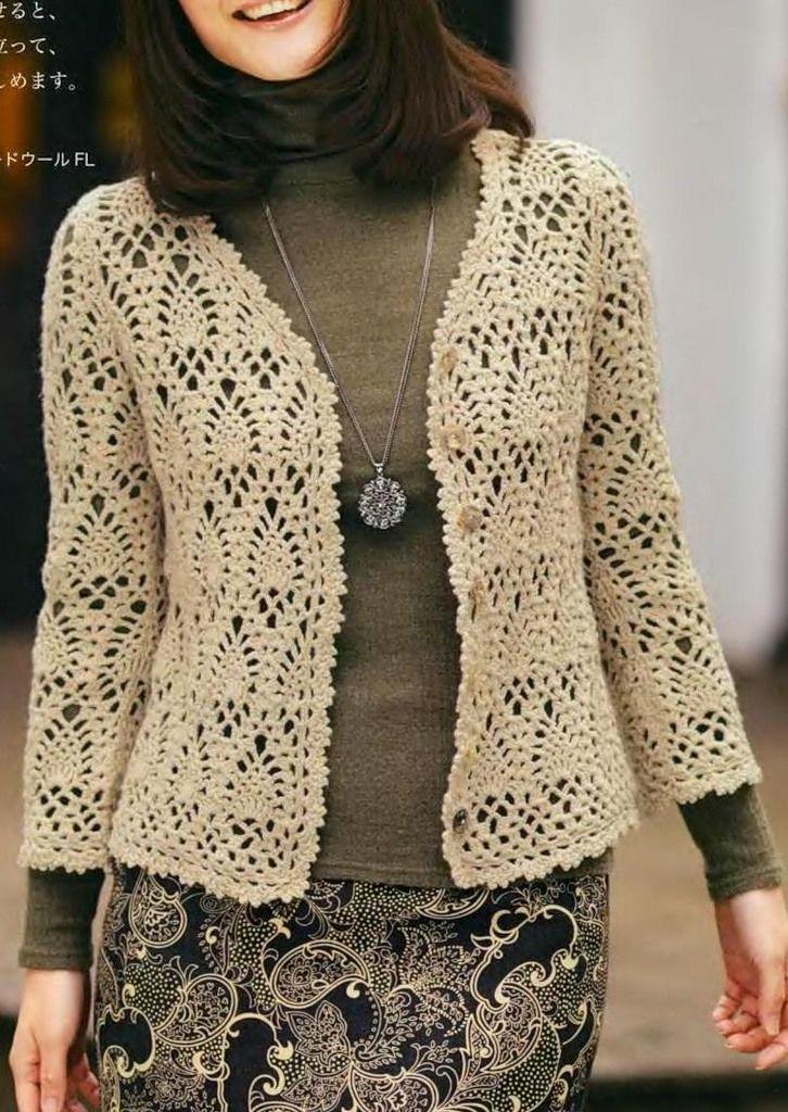 Cardiga Em Croche Com Graficos Modelo De Casaco De Croche
