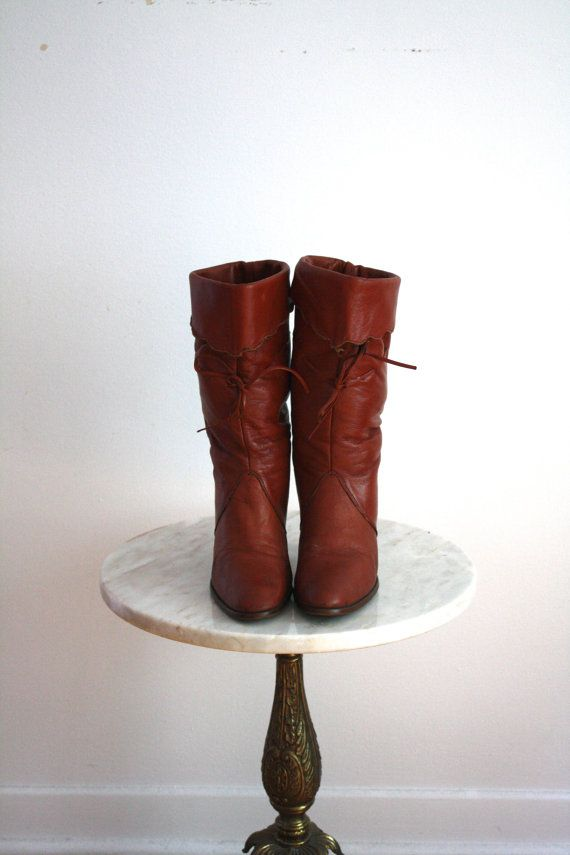 HIGH-HEELED Cowboy Boots Brown Leather Lace Cuff - Women's 7 7.5 - 1980s VINTAGE on Etsy, $38.00