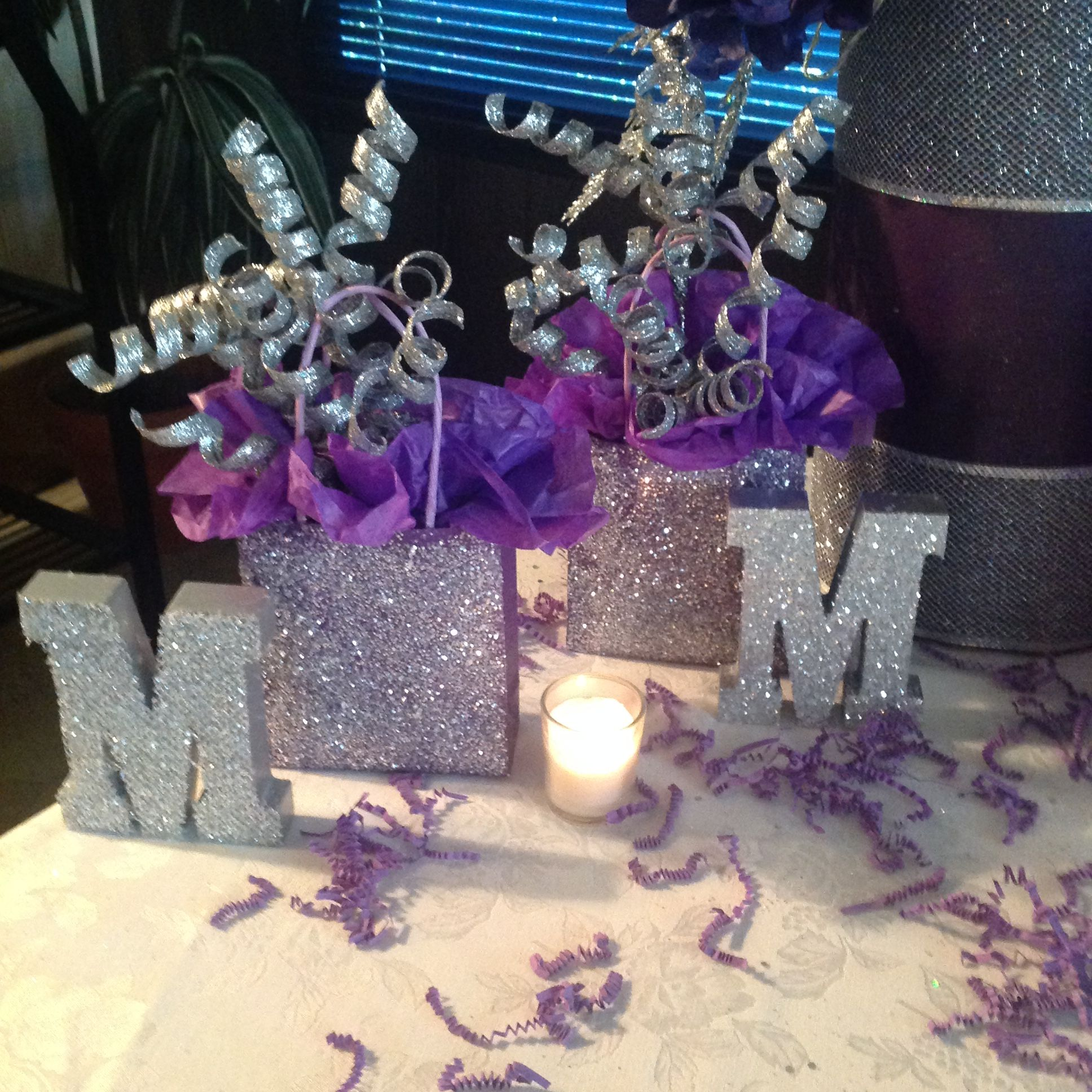 Sweet sixteen purple party decorations made these from
