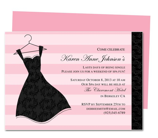 Printable DIY Bachelorette Party Invitations LBD Bachelorette – Party Invitation Template Word