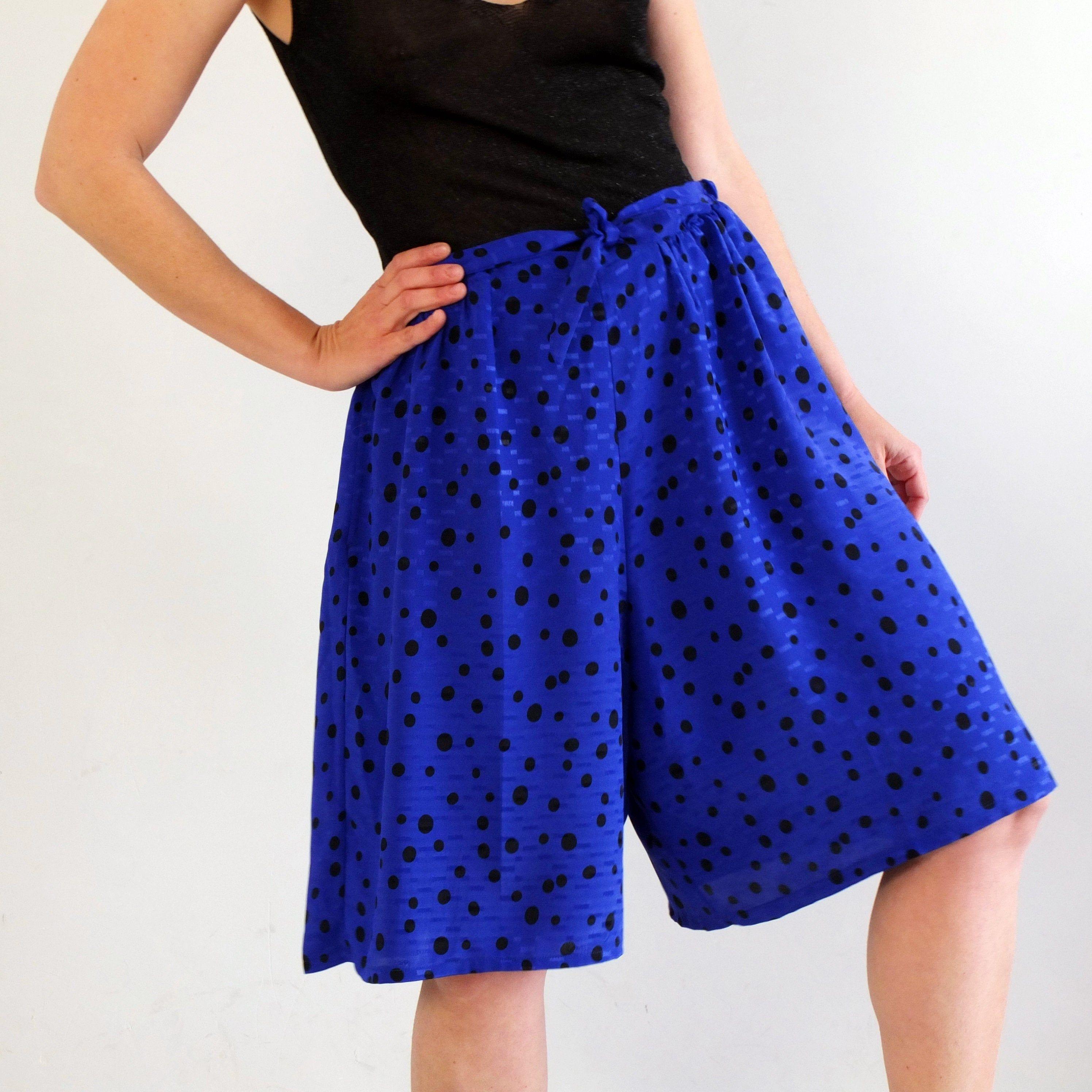 Vintage 1980s Culotte Polka Dot High Waisted Polka Dot Short size 7