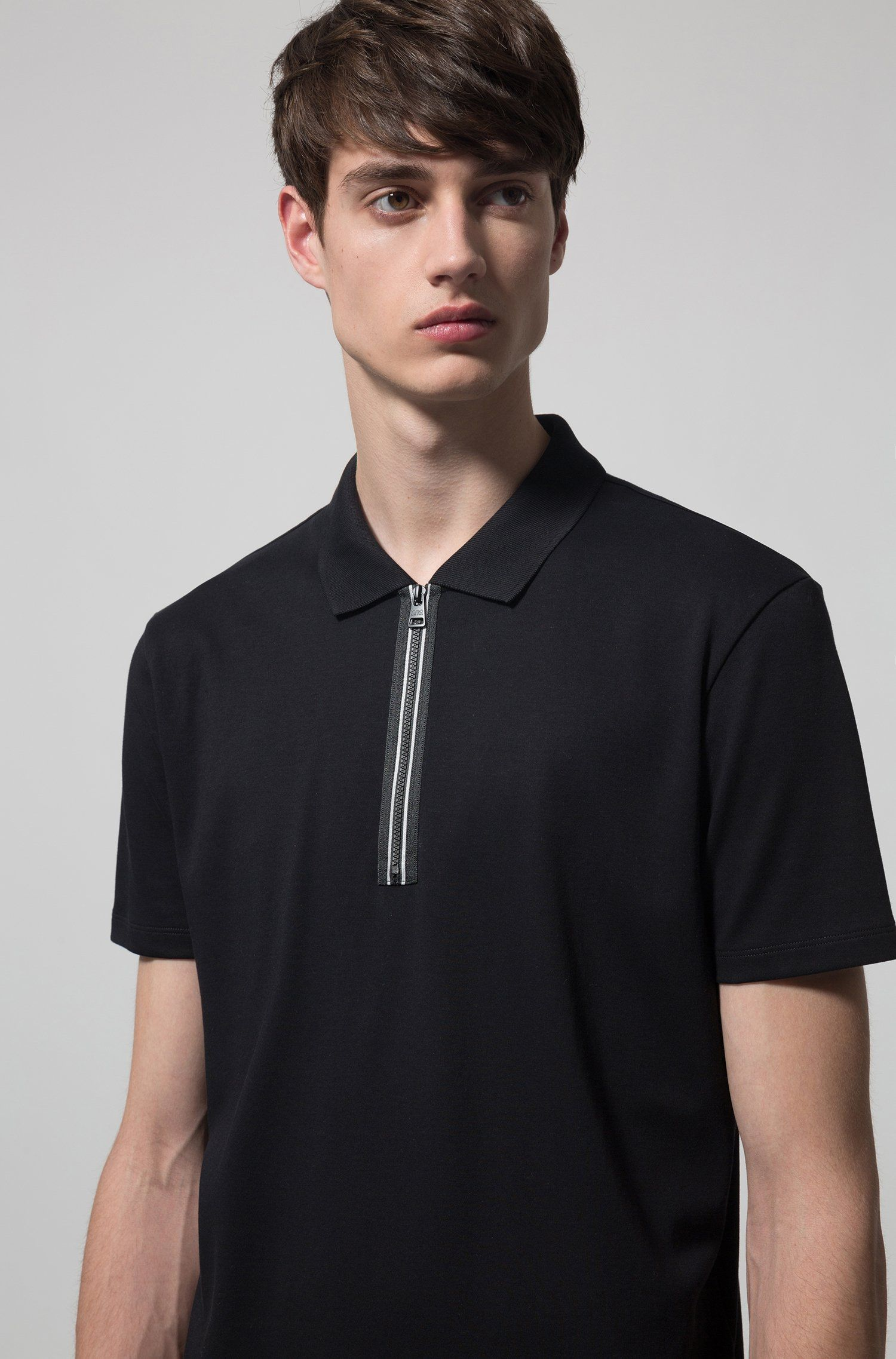 1eb3f5dee HUGO - Polo shirt in interlock cotton with contrast zip detail ...