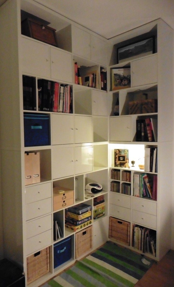 une biblioth que d angle sur mesure avec kallax ikea kallax ikea hack and salons. Black Bedroom Furniture Sets. Home Design Ideas