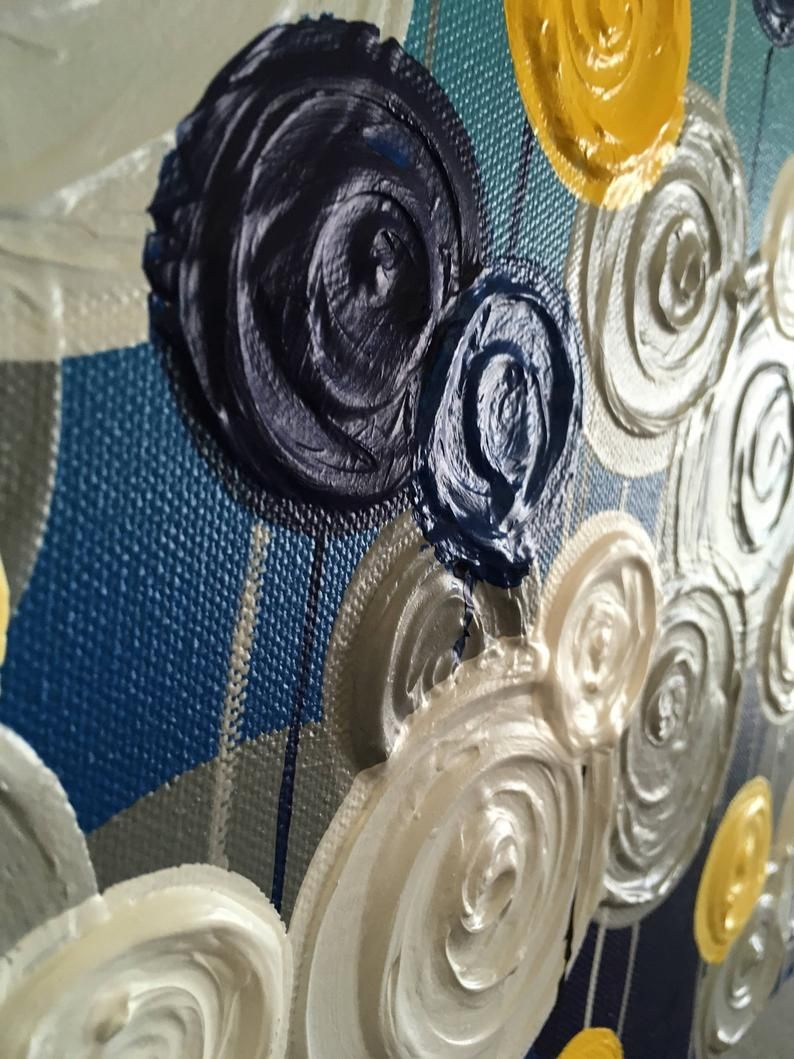 Navy Blue, Turquoise, Yellow and Gray Textured Painting