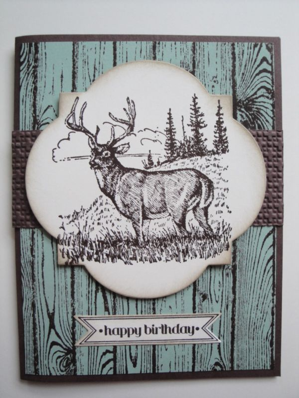 DEER BIRTHDAY Card Kit 4 Cards Lot Stampin Up Masculine Men Hunting